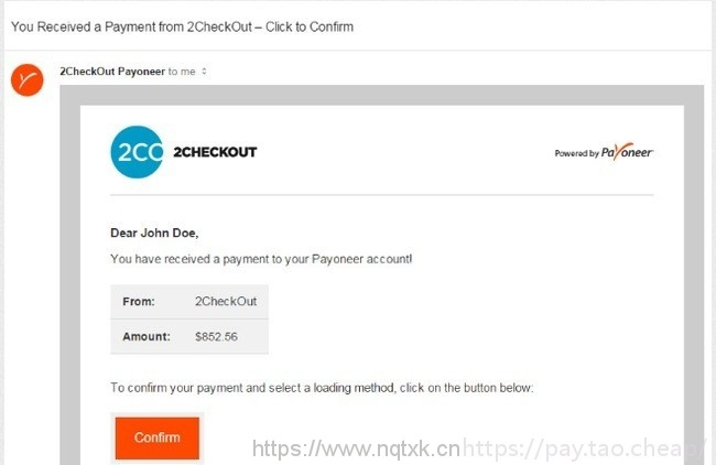 Payoneer接受2Checkout下发的资金